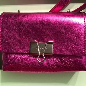 OFF-WHITE metallic fuchsia crossbody bag